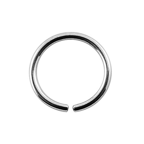 Open Nose Ring (6MM Length - 18 Gauge ( 1.0MM ) 316L Surgical Steel Open Hoop Nose Ring)