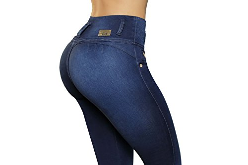 Colombianos High up Blu Scuro Jean Vaqueros Push Rise 4xSx6