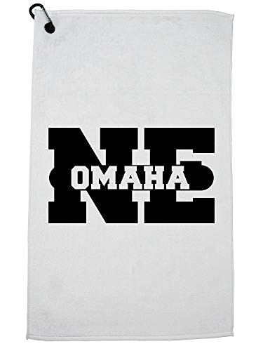 Hollywood Thread Omaha, Nebraska NE Classic City State Sign Golf Towel with Carabiner Clip]()