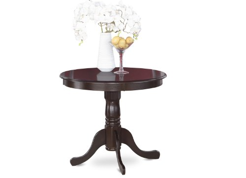 East West Furniture ANT-CAP-T Round Table, 36-Inch, Cappuccino Finish Rectangular Pedestal Dining Table