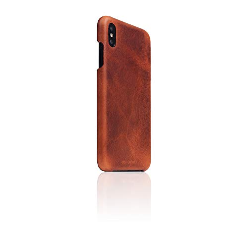 SLG Design] D7 Italian Wax Leather Back Case for iPhone Xs Max I Slim Fit Snap Case with Italian Vegetable Tanning Leather, Compatible with iPhone Xs Max (Brown)