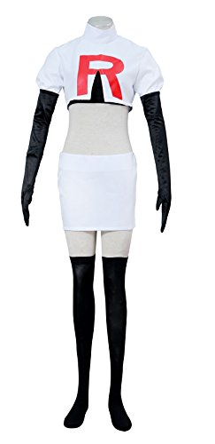 Dazcos Women / girls Team Rocket Jesse Printed R Cosplay Costume (Women (Child James Team Rocket Costumes)