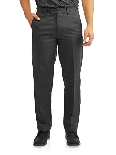 George Men's Classic Fit Flat Front Performance Dress Pants (Grey, 36W x 29L)