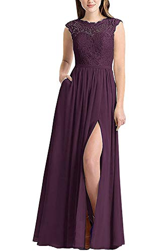 Danysu Women's Lace Bridesmaid Dresses Long with Pockets Prom Evening Dress Slit Plum US0
