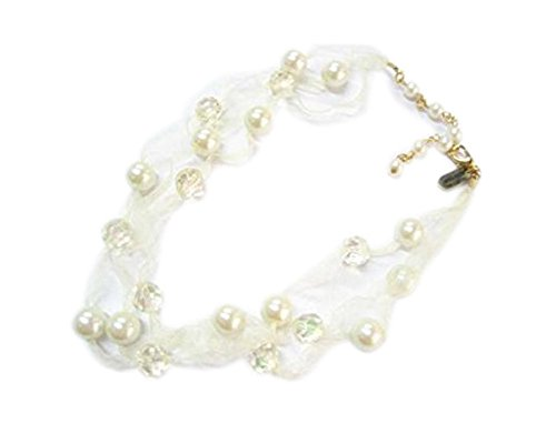(JewelryStylist.com Double Strand Champagne Faux Pearl and Crystal Ribbon Necklace - Off-White)