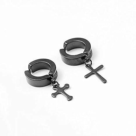 VVSBAOZI Crystal Pendientes Clip de oreja de acero de titanio de los hombres coreanos hombres y mujeres imán oído falso hebilla solo pendientes populares de ...