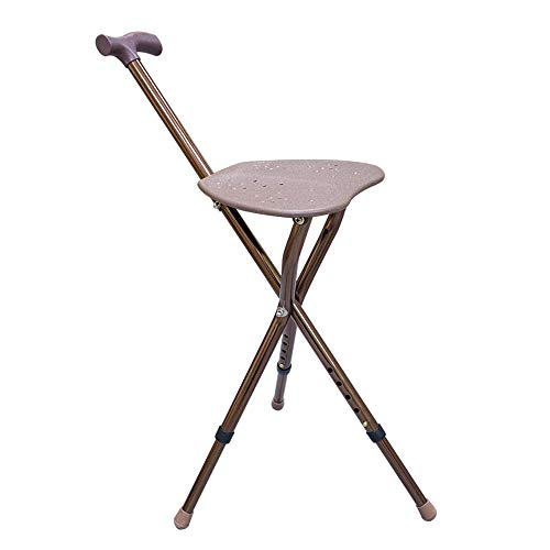 Folding Cane Seat, FOME HOME Folding Walking Cane with Seat Walking Stool Aluminum Walking Stick Chair Adjustable Height Cane Seat Medical Massage Walking Stick with Seat Portable Rest Stool for Elder - Folding Stool Cane