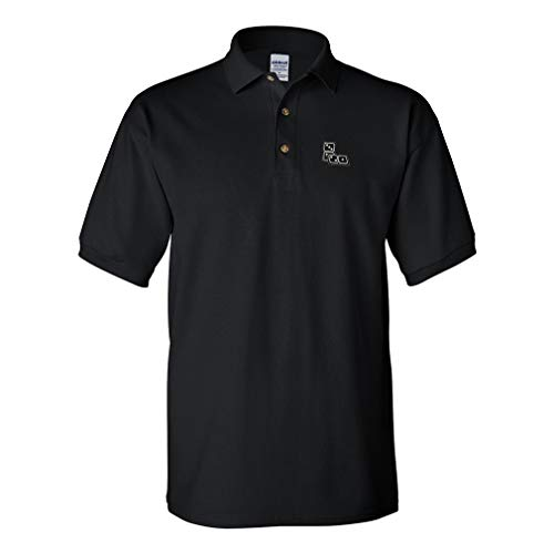 (Polo Shirt Dominos Game A Embroidery Design Cotton Golf Shirt for Men Black Large Design Only )