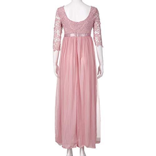 Doinshop Robes Pour Femmes Fête Maxi Demoiselle D'honneur Floral À Long Mariage Soirée Dentelle Rose Robe Longue