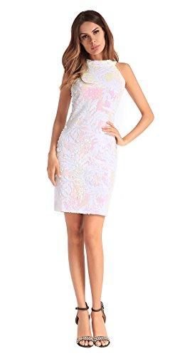 vestido mujer noche White fiesta de lentejuelas de de la FOLOBE vestido qf6Iwt