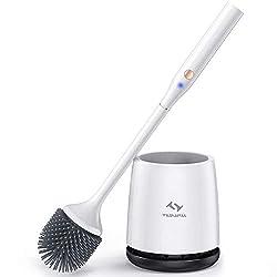 Tilswall Elektrische Bürste, Silikon WC-Bürste und Behälter, für Badezimmer mit schnell trocknendem Haltersatz