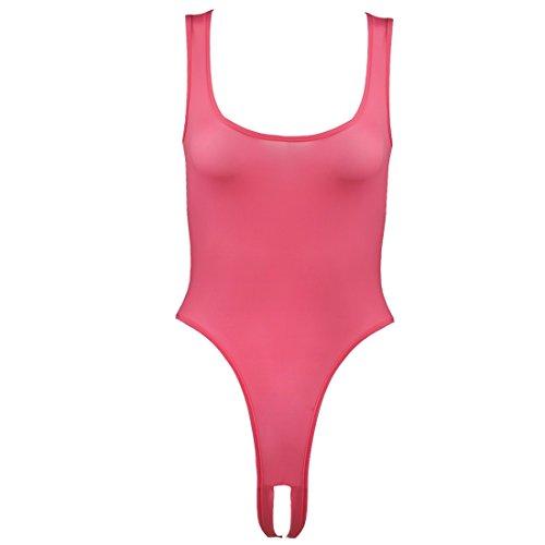 Agoky Womens Open Crotch Sleeveless Catsuit Deep U Neck See Through Mesh Thongs Teddy Bodysuit Underwear