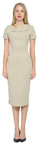 Marycrafts Women's Office Business Short Sleeve Pencil Midi Dress 10 Tan