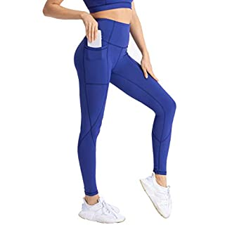 Hopgo Women's High Waist Workout Leggings Yoga Pants with Pockets Tummy Control 7/8 Sports Tights Royal Blue US M