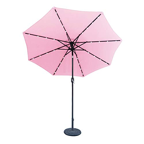 Cheap ABCCANOPY 9 FT Solar Powered Patio Umbrella 32LED Lights Solar Umbrella with Tilt and Crank (Pink)