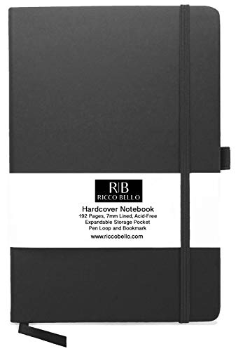 RICCO BELLO Classic Ruled Notebook with Pen Loop / 5.7 x 8.4 inches (Black)