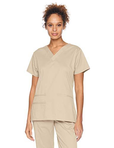 Amazon Essentials Women's Quick-Dry Stretch Scrub Top, Khaki, X-Small