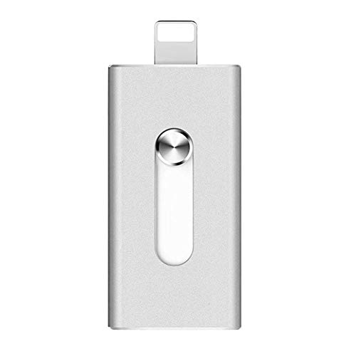wewa98698 Portable 3 in 1 Flash Drive USB Memory Stick U Disk for iPhone Android Phone - Silver 32GB (320 Gb Disk Drive)