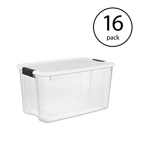 (Sterilite 70 Quart Ultra Latch Storage Box with Lid & See-Through Base (16 Pack) )