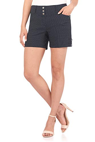 Rekucci Women's Ease Into Comfort Stretchable Pull-On 5 inch Slimming Tab Short (16,Navy/White Dotted Lines)