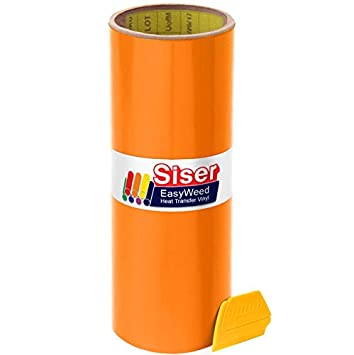 Black Siser Easyweed 12 x 5ft Heat-Transfer Vinyl Roll Including Hard Yellow Detailer Squeegee