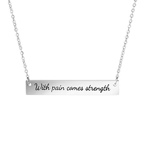 Awegift Within Pain Comes Strength Pendant Quotes Bar Necklace Inspirational Gift Jewelry Women