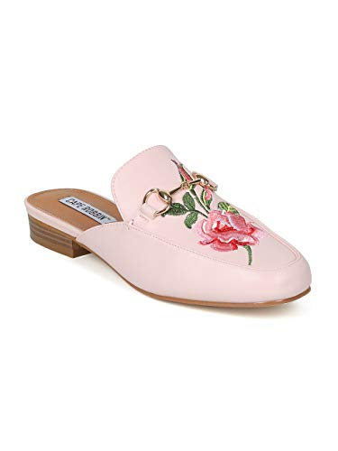 Alrisco Women Rose Embroidered Horsebit Slip On Mule - IA17 by Cape Robbin Collection Pink Leatherette