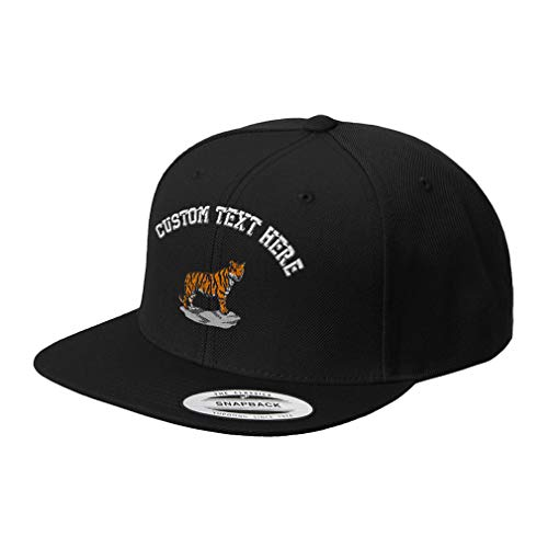 Custom Text Embroidered Standing Tiger Unisex Adult Snaps Acrylic Structured Flat Visor Snapback Hat Cap - Black, One - Embroidered Tiger Visor