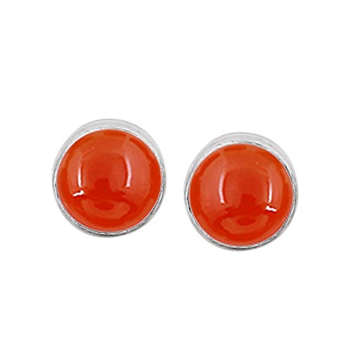 Genuine Round Shape Carnelian Stud Earrings 925 Silver Plated Handmade Jewelry For Women Girls
