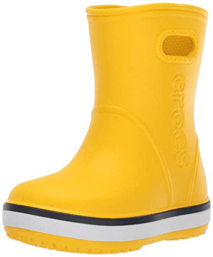Crocs Kids' Crocband Rain Boot | Easy Slip On for Toddlers | Lightweight and Waterproof, Yellow/Navy, 10 M US Toddler