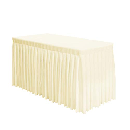 Surmente Tablecloth 14 ft Polyester Table Skirt Weddings, Banquets Restaurants (Ivory) ... ()