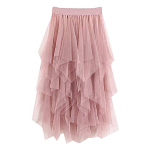 PASATO Casual Womens Irregular Comfortable Tulle High Waist Pleated Tutu Skirt Ladies Solid Midi Skirt(Pink,Free Size) -