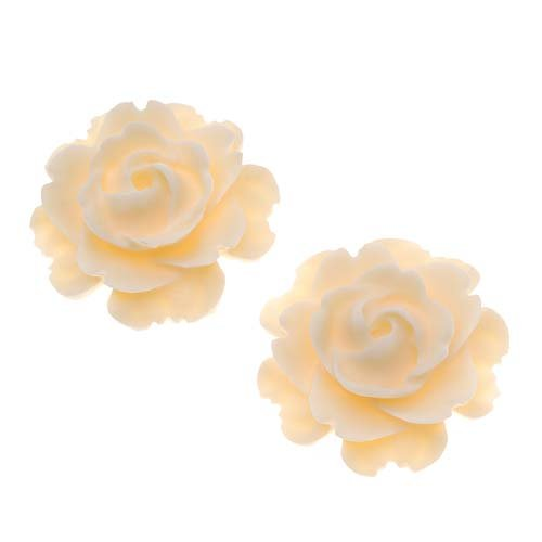 Beadaholique Lucite Flower Cabochons 2-Piece Blooming Rose Beads, 23mm, Matte Ivory