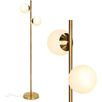 Rivet 3 Light Marble And Brass Arc Floor Lamp With Bulbs