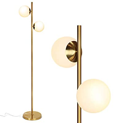 Brightech Sphere - Mid Century Modern 2 Globe Floor Lamp for Living Room Bright Lighting - Contemporary LED Standing Light for Bedrooms & Offices - Gold/Antique Brass Indoor Pole Light - UNIQUE AND MODERN DESIGN- The Sphero LED by Brightech was designed to stand out! The simple stem line and unembellished globes create a minimalistic look that goes well with Asian and modern décor schemes. The shiny gleam of the brass finish pairs beautifully with the frosted white diffusing glass shades to create a stunning look for your spaces. Its lightweight, slender design makes it convenient to move it from room to room, and fit into narrower spaces, to use wherever you need it. BEAUTIFUL WARM LIGHT FOR HOME & OFFICE; ECHO/ALEXA COMPATIBLE: This lamp gives off warm beautiful light that will create a cozy, comfortable, and well-lit space for any room in your home. An alternative to unpleasant overhead lights, the Sphero provides soft yet plentiful room lighting to enlighten your indoor space. For added convenience, the lamp is wall switch and smart outlet compatible, and will also work with Alexa, Echo, when paired with a smart plug. (Note: lamp is not dimmable). LONG LASTING & ENERGY SAVING: This UL Certified Lamp includes two 9.5 Watt power saving LED light bulbs that will not need to be replaced for years to come. The advanced 3,000K warm white LED technology with 800 lumens per bulb allows this lamp to outshine lamps that depend on short lived, energy consuming standard halogen or incandescent bulbs. This LED lighting will endure for more than 20 years without burning out or overheating. (Bulbs can be replaced with other bulbs, 60 watts max.) - living-room-decor, living-room, floor-lamps - 31YxW59ZwbL. SS400  -