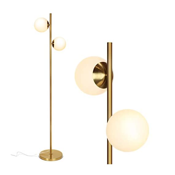 Brightech Sphere – Mid Century Modern 2 Globe Floor Lamp for Living Room Bright Lighting – Contemporary LED Standing Light for Bedrooms & Offices – Gold/Antique Brass Indoor Pole Light