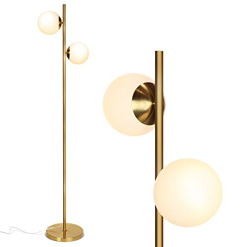 Brightech Sphere LED Floor Lamp- Contemporary Modern Frosted Glass Globe Lamp with Two Lights- Tall Pole Standing Uplight Lamp for Living Room, Den, Office, Bedroom- Bulbs Included- Antique Brass