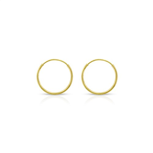Gold Tube Earrings (14k Yellow Gold Women's Endless Tube Hoop Earrings 1mm Thick 10mm - 20mm (10mm))