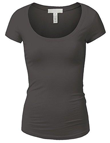 Emmalise Women's Short Sleeve Tshirt Scoop Neck Tee Shirt (2XL, Charcoal)