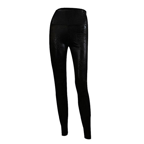 Sexy Ladies High Waist Wet Look Faux Leather Leggings Pants Tights - Matt black - 1