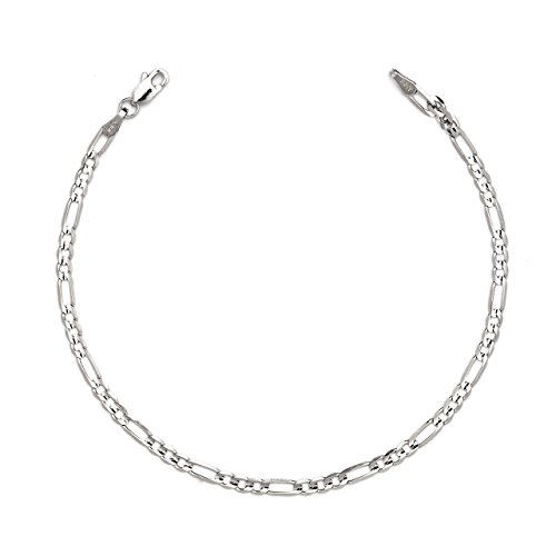 7 Inch 10k White Gold Figaro Chain Bracelet with Concave Look, 0.13 Inch (3.2mm)