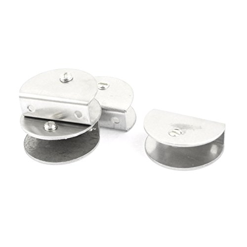Uxcell Thickness Half Round Shelf Glass Clip Clamp, 12mm-15mm, Silver Tone, 4 Piece
