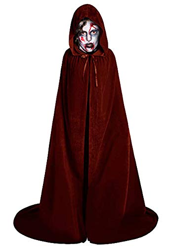 LALIFIT Unisex Velvet Full Length Hooded Robe Cloak Halloween Long Cosplay Costumes Party Cape (S, Coffee)