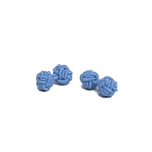 Jacob Alexander Solid Color Silk Knot Cufflinks - Cornflower Blue - Blue Knot Cufflinks