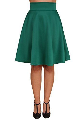 Sidecca 1950's Retro Midi High Waist Knee Length Flared A-Line Skater Skirt (Small, Emerald)
