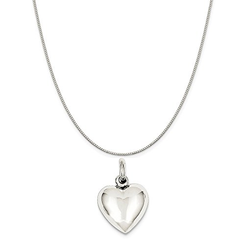 (Mireval Sterling Silver Puffed Heart Charm on a Sterling Silver Carded Box Chain Necklace, 18
