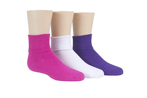 Stride Rite Little Girls' 3 Pack Girls Comfort Seam Turn Cuff, Fuchsia/White/Purple,7-8.5 Sock size/10-13 Shoe size (Little - Shoes Dress Girl Purple Little