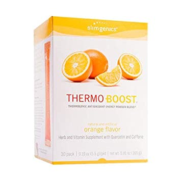 SlimGenics Thermo-Boost Thermogenic Antioxidant Energy Boosting Powder Drink Mix – Anti-Aging Properties, Increases Metabolism, Promotes Weight Loss, Fights Fatigue and Inflammation Orange – 30 ct