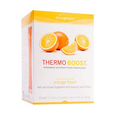 SlimGenics Thermo-Boost | Thermogenic Antioxidant Energy Boosting Powder Drink Mix - Anti-Aging Properties, Increases Metabolism, Promotes Weight Loss, Fights Fatigue and Inflammation (Orange) - 30 ct