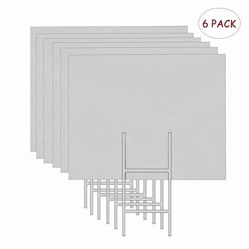 MEJOR CONOCIDO 6 Pack 24x18 White Blank Lawn Yard Signs Corrugated Plastic Sheet with Durable H-Stakes, Opening Business, Garage Rent, House Sale